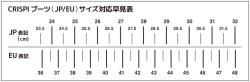 CRISPIサイズチャート